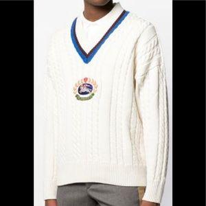 Burberry Mens Cashmere Cotton Cricket Sweater Sz S